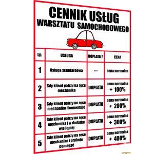 ŚMIESZNY ŻARTOBLIWY CENNIK - WARSZTAT SAMOCHODOWY